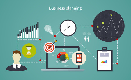 planing: Business start infographics template. Scheme with icons, people, graphs and diagrams