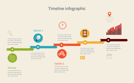 alternatively: Timeline Infographic business with diagrams. With set of Icons. Vector design