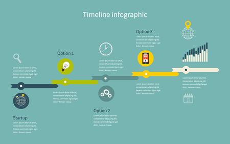 alternatively: Affari Timeline Infografica con diagrammi. Con set di icone. Vector design
