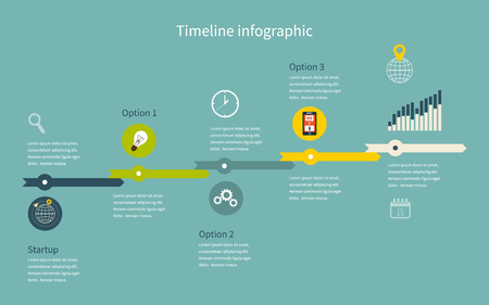 Timeline Infographic business with diagrams. With set of Icons. Vector design Vector