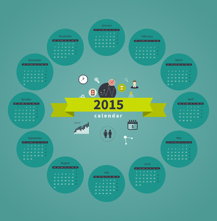 months: Vector template design - Calendar 2015 with paper page for months Illustration