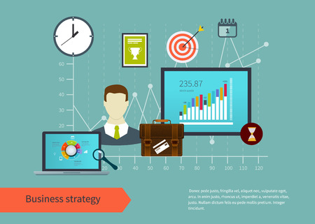 business planning: Flat design vector illustration infographic concept with icons set of modern business working elements, business planning, finance paperwork objects.