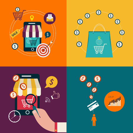 e pay: Mobile payment concept with flat icons. Vector illustration