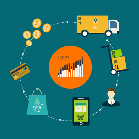 e pay: Flat design vector illustration icons of e-commerce symbols and internet shopping elements