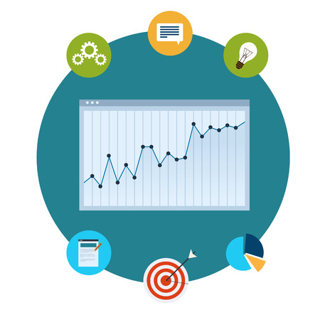 sales process: Vector icons of financial analytics, charts and graphs of growth