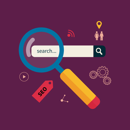 internet search: Search engine optimization, magnifier around business icons