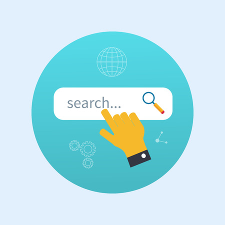 search box: Internet search concept with search box - vector modern illustration