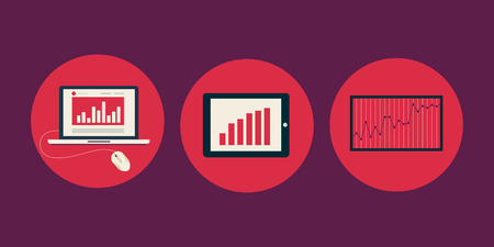 schedule reports: Vector flat icons of charts and graphs of growth on electronic devices Illustration