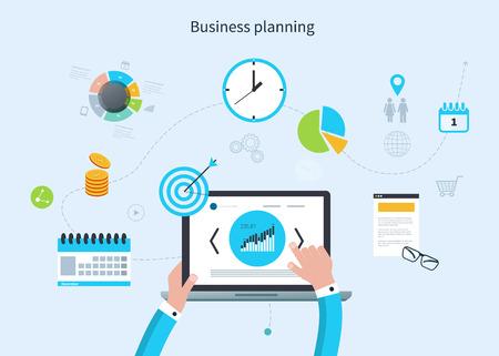 marktforschung: Flache Design Vektor-Illustration Konzept Infografik mit Icons Set von modernen Business-Arbeitselemente, Marktforschung, Finanz Papierkram Objekte und Finanzplanung