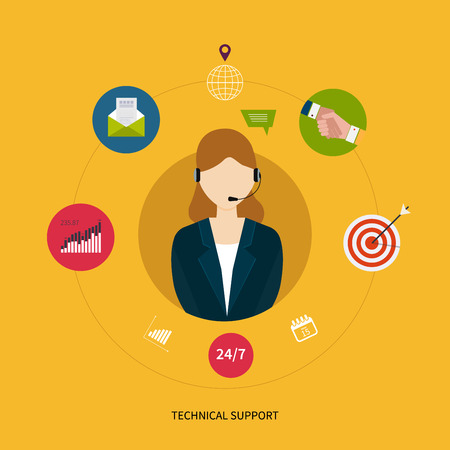 customer service representative: Customer technical support service. Representative young woman with headphone surrounded by flat icons