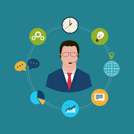 call center agent: Technical support flat illustration. Man with icons. Vector illustration Illustration