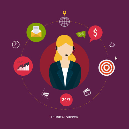 Customer technical support service. Representative young woman with headphone surrounded by flat icons