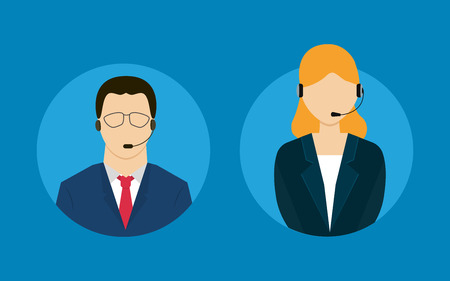 sales representative: Technical support flat illustration. Man and woman. Vector illustration