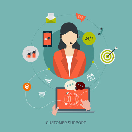 feedback: Business customer care service concept flat icons. Feedback. Woman with icons. Vector illustration