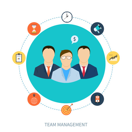 Vector flat concept of management, human resources and teamwork