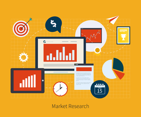 market research: Flat design vector illustration infographic concept with icons set of modern business working elements, market research, finance paperwork objects and financial planning