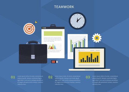 business meeting laptop: Flat design modern vector illustration concept of teamwork. Icons with laptop, digital devices, office objects with papers and documents
