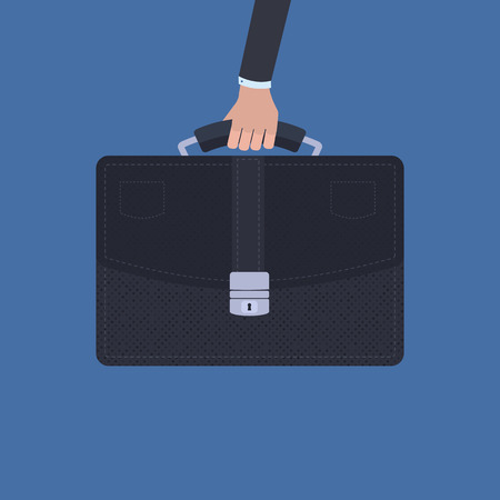 leather briefcase: Vector business concept in a flat style - hand holding a briefcase over blue background Illustration