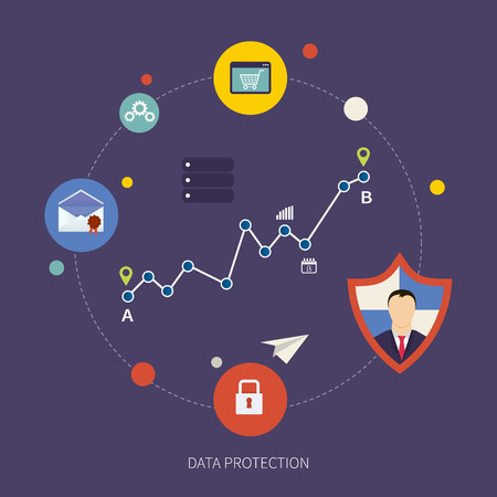 data protection: Flat shield icon. Data protection concept. Social network security and data protection Illustration