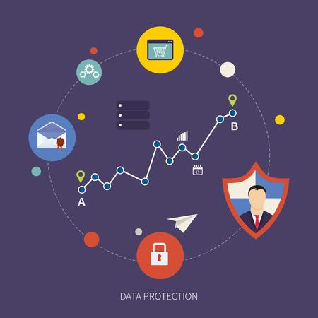 seguridad social: Icono del escudo plana. Concepto de protección de datos. Seguridad de la red social y la protección de datos Vectores