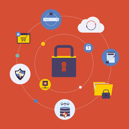 security lock: Set of modern flat design icons on the topic of online security, data protection and data safety. Icon lock with icons