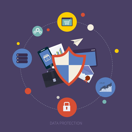 Flat shield icon. Data protection concept. Social network security and data protection Vector