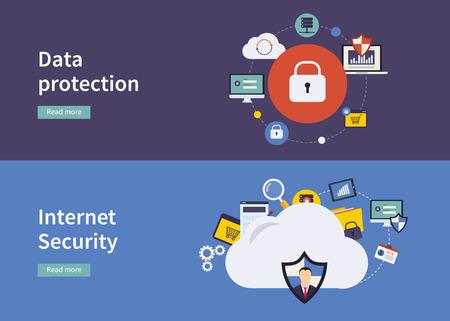 데이터 보호 및 인터넷 보안을위한 평면 디자인, 벡터 일러스트 레이 션 개념의 집합입니다. 웹 배너 및 인쇄 재료에 대한 개념.