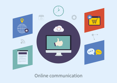 e survey: Set of flat design vector illustration concepts for online communication, purchasing product via internet and mobile shopping communication. Concepts for web banners and printed materials.