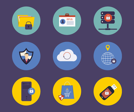 security technology: Set of flat design concept icons for technology security and data protection, search engine optimization. Icons for website development and mobile phone services and apps. Illustration