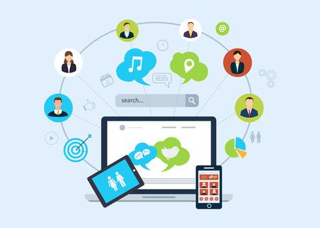 웹, 모바일 서비스 및 애플 리케이션을위한 평면 설계 개념 아이콘의 집합입니다. 소셜 네트워크와 검색 엔진 마케팅에 대 한 아이콘입니다.