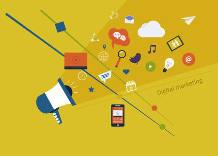 mobile marketing: Set of flat design concept icons for web and mobile phone services and apps. Icons for digital marketing and mobile marketing.