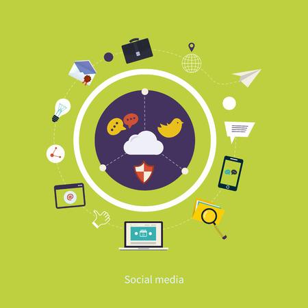 printed media: Set of flat design vector illustration concepts for online communication and social media. Concepts for web banners and printed materials. Illustration
