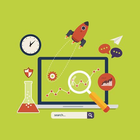 marktforschung: Flache Bauweise moderne Vektor-Illustration Konzept der Website Analytics und Marktforschung mit modernen mobilen Ger�ten.