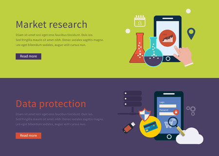 market research: Set of flat design vector illustration concepts for mobile marketing and market research.