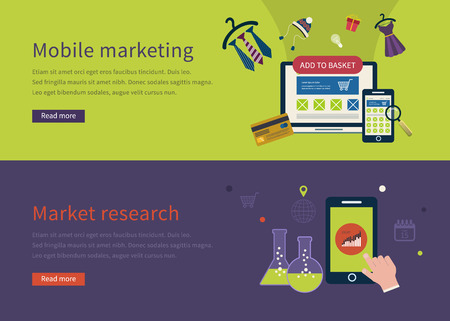 Set of flat design vector illustration concepts for mobile marketing and market research.