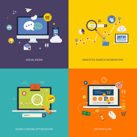 Icons for seo, social media, analytics search information and pay per click internet advertising in flat design.