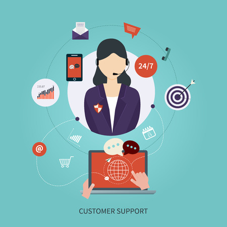 customer service representative: Business customer care service concept flat icons. Feedback. Woman with icons. Vector illustration