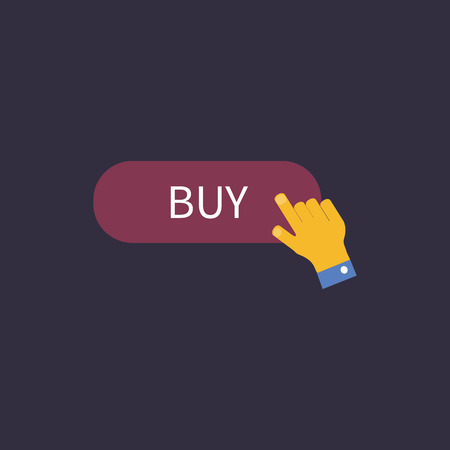 e pay: Hand presses the button to buy. Vector illustration Illustration