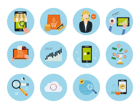 mobile marketing: Set for web and mobile applications of mobile marketing, pay per click, social media, website analytics, seo, technical support concepts items icons in flat design