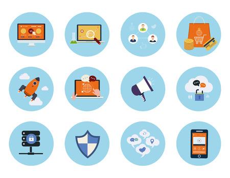 seguridad social: Conjunto de aplicaciones web y móviles de marketing móvil, pago por clic, los medios sociales, análisis de sitios web, seo, conceptos de apoyo técnico artículos iconos de diseño plano