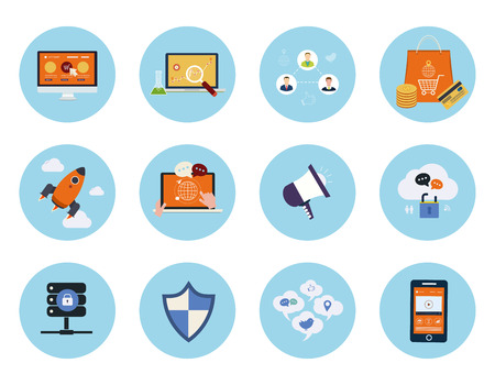 business security: Set for web and mobile applications of mobile marketing, pay per click, social media, website analytics, seo, technical support concepts items icons in flat design