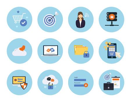 marktforschung: Set f�r das Web und mobile Anwendungen von Social Media, Datenschutz, Mobile Marketing, Pay-per-Click, Internet-Sicherheit, Marktforschungskonzepte Artikel Icons in flache Bauform Illustration
