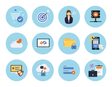 mobile marketing: Set for web and mobile applications of social media, data protection, mobile marketing, pay per click, internet security, market research concepts items icons in flat design