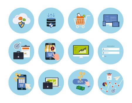 marktforschung: Set f�r das Web und mobile Anwendungen des Datenschutzes, Online-Shopping, pay per click, Analytik suchen Informationen, Internet-Sicherheit, seo, Marktforschungskonzepte Artikel Icons in flache Bauform Illustration