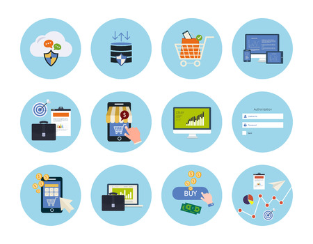 Set for web and mobile applications of data protection, online shopping, pay per click, analytics search information, internet security, seo, market research concepts items icons in flat design Vettoriali