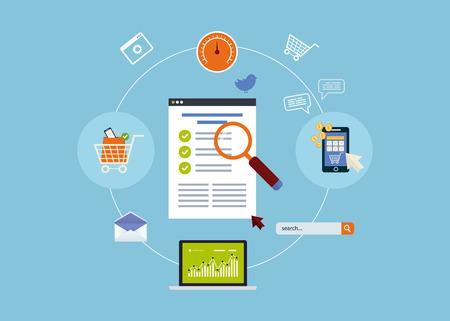 Flat design modern vector illustration icons set of website SEO optimization, mobile marketing and web analytics elements. Çizim