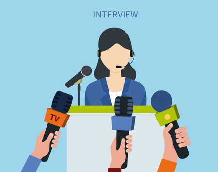 press conference: Woman politician or businesswoman answering press questions in front of journalists holding microphones Illustration