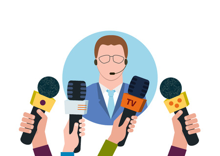 presence: Businessman giving an interview in the presence of journalists with microphones