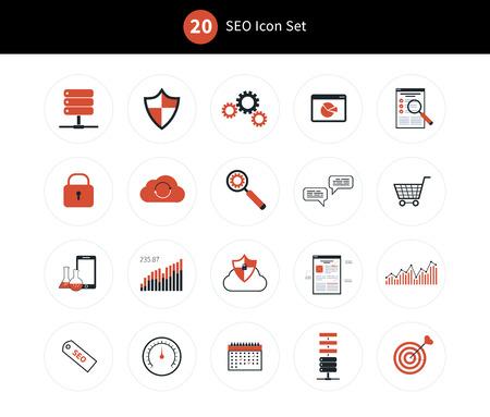 seo: SEO and protection icon set. vector illustration Illustration