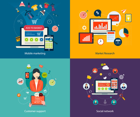 information management: Set of flat design concept icons for mobile marketing, market research, customer support and social network. Concepts for web banners, printed materials and mobile phone services.